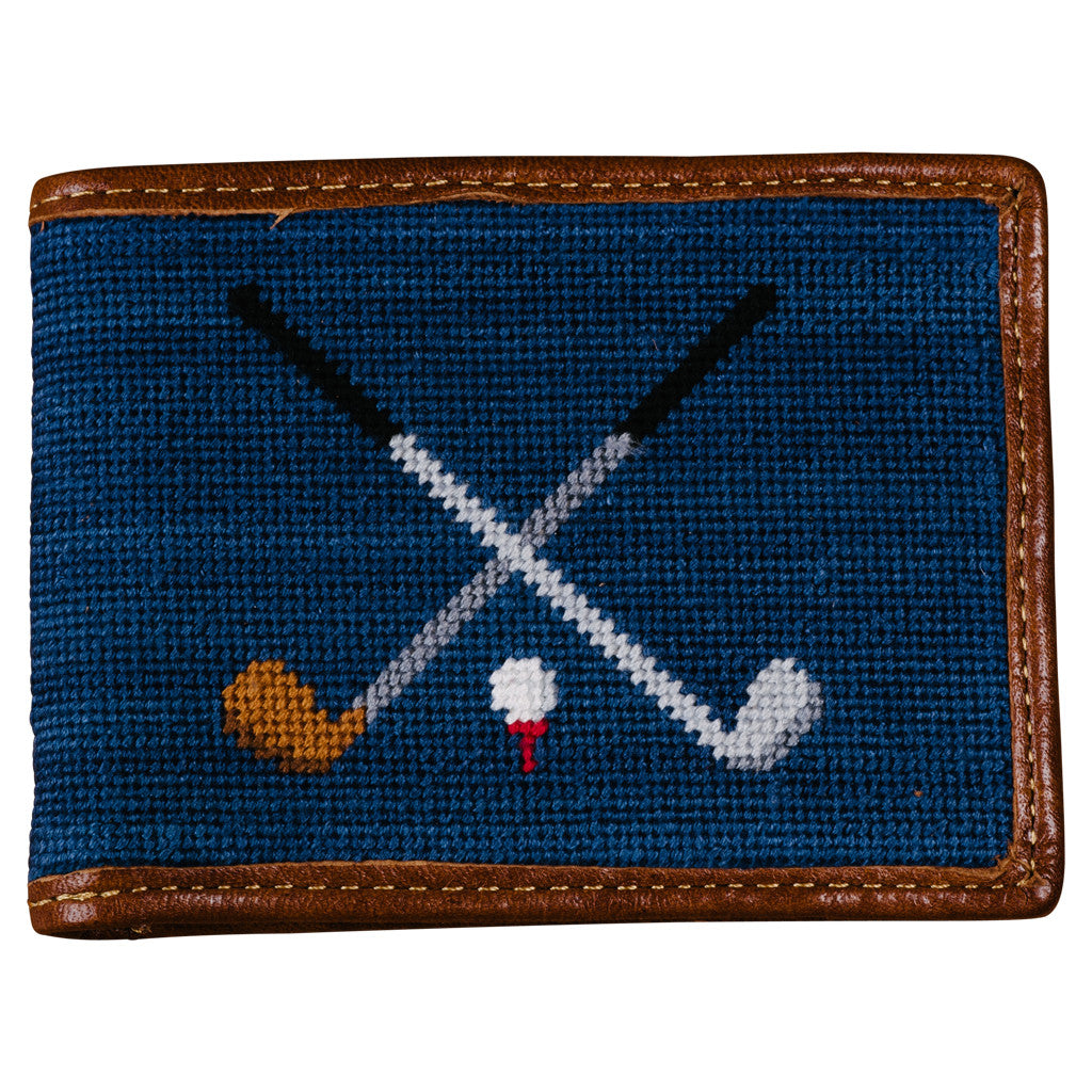 Smathers & Branson Crossed Clubs Needlepoint Bi-Fold Wallet