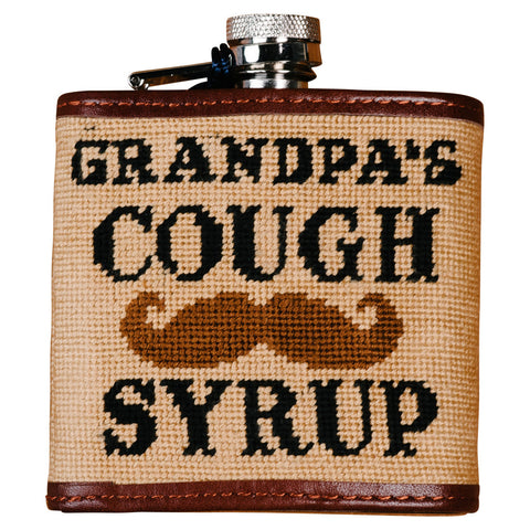 Grandpa's Cough Syrup Needlepoint Flask