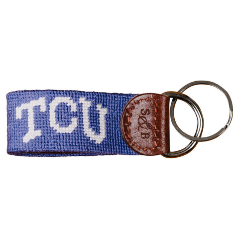 TCU Needlepoint Key Fob - Purple