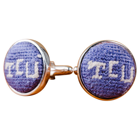 TCU Needlepoint Cufflinks