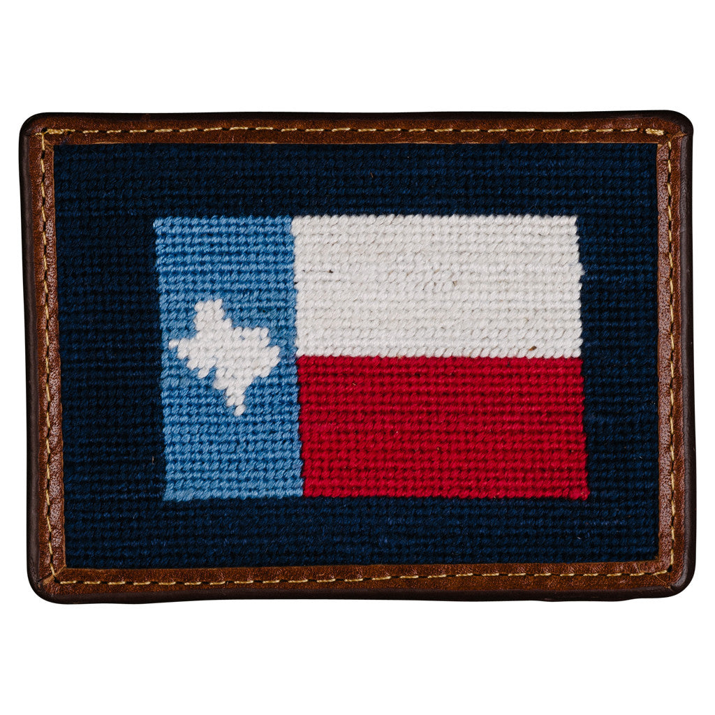 Smathers & Branson Texas Flag Needlepoint Card Wallet