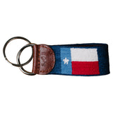 Texas Flag Navy Needlepoint Key Fob