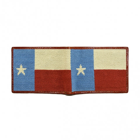 Vintage Texas Flag Needlepoint Bi-Fold Wallet