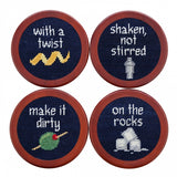 Smathers & Branson Cocktail Orders Needlepoint Coaster Set