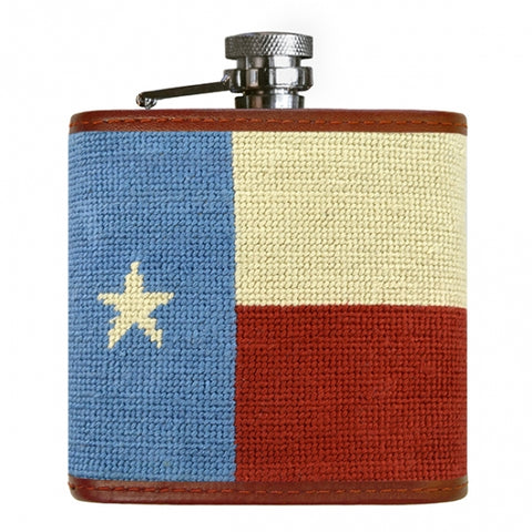 Vintage Texas Flag Needlepoint Flask