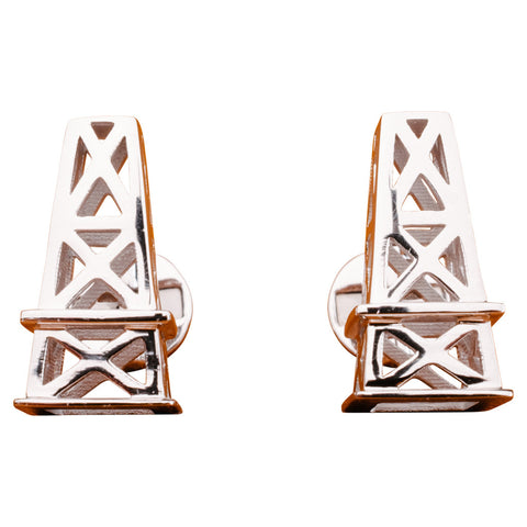 Sterling Oil Derrick Cufflinks