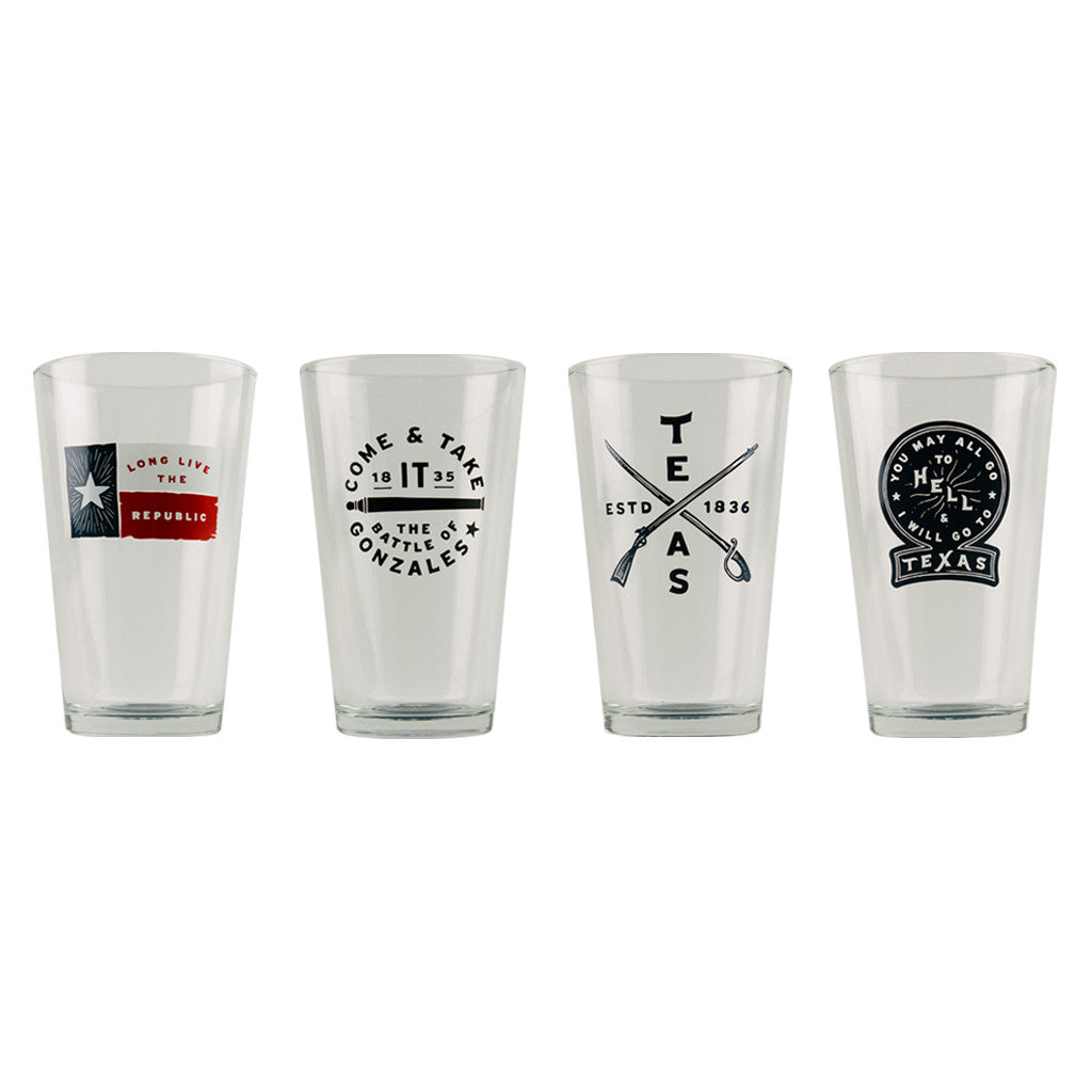 Texas Barware Pint Beer Glasses