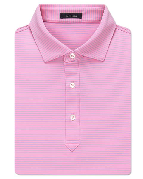 All-Day Stripe Performance Polo - Orchid/Sky