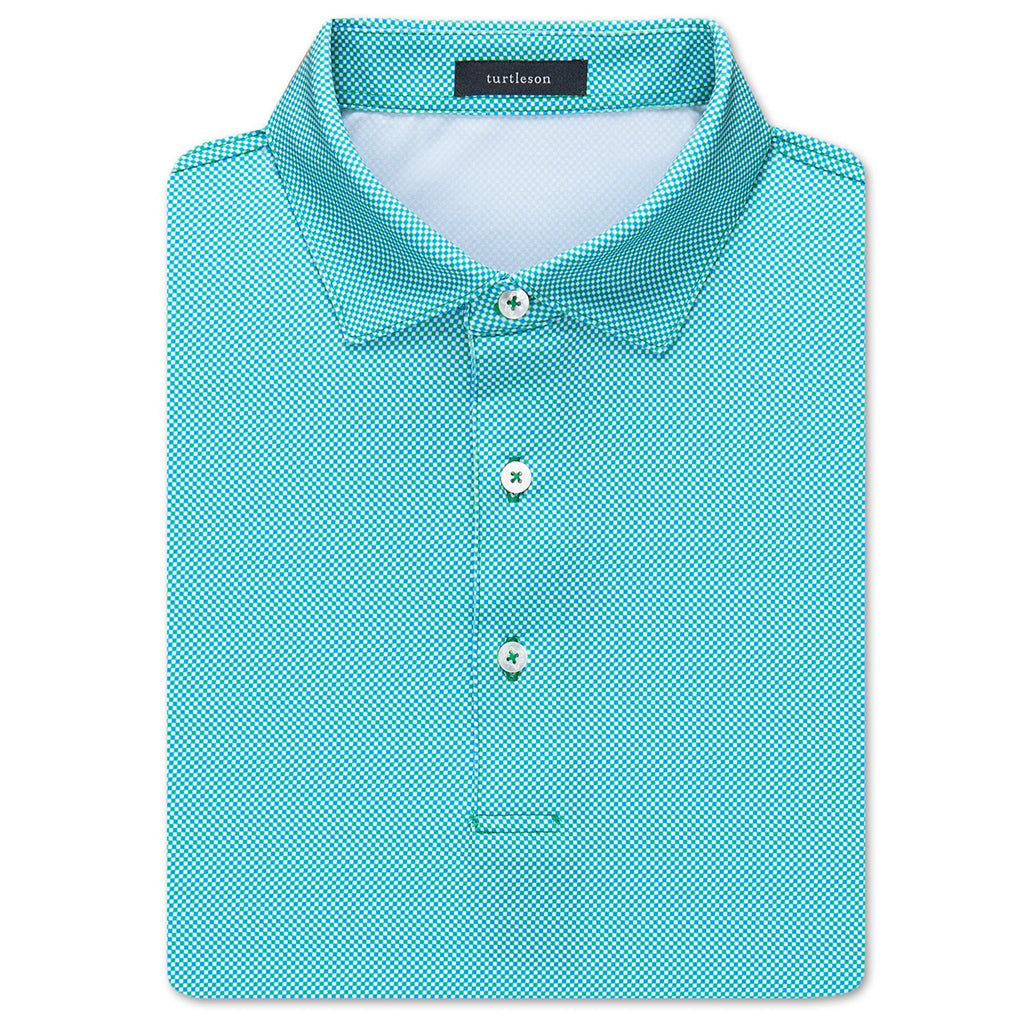 Checker Jacquard Performance Shirt - Malibu/Lagoon