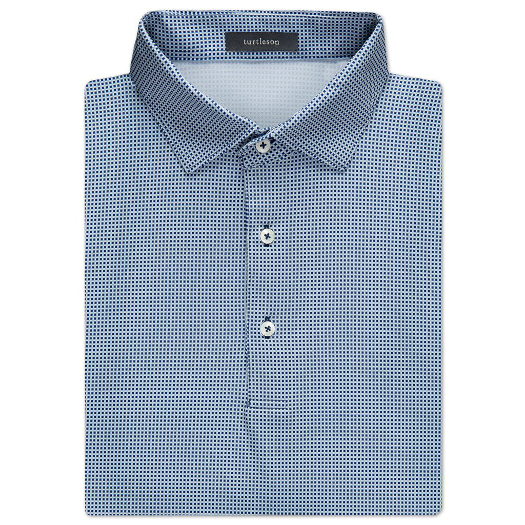 Checker Jacquard Performance Shirt - Navy