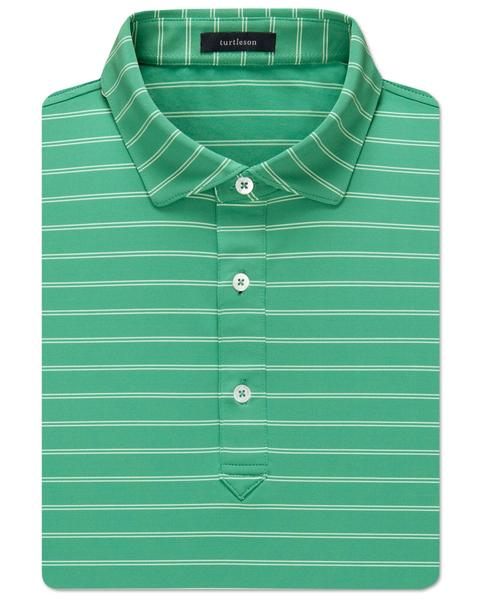 Hank Stripe Performance Polo - Lagoon