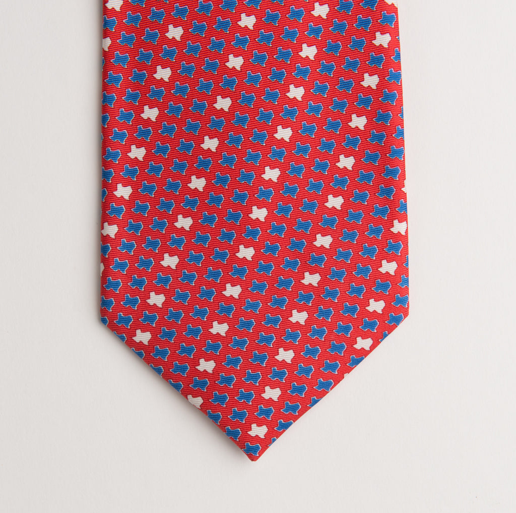 Texas States Tie - Red - Extra Long