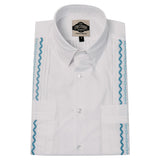 Mens Guayabera Shirt Cotton White with Blue Broadcloth