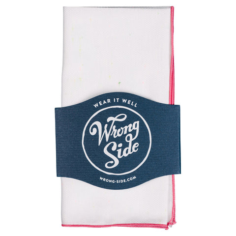 Wrong Side Pocket Square - White & Burnt Orange