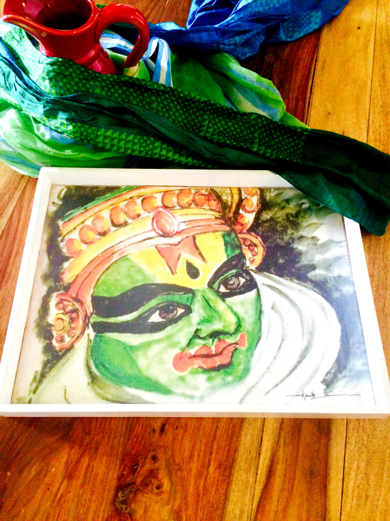 Kathakali Designer Tray - White - 2 Tray Sizes Available