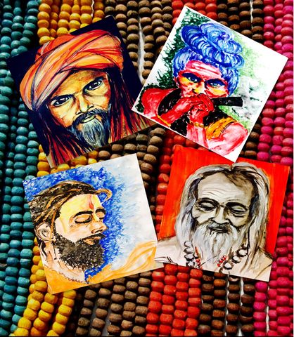 Sadhus of India Coasters (Set of 4)