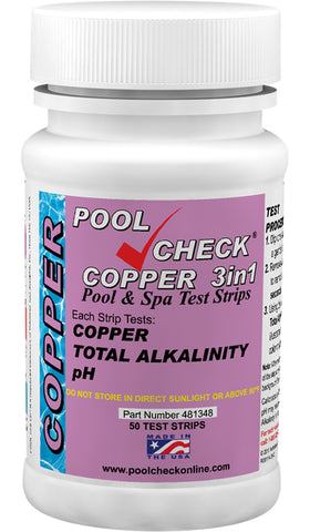 Pool Check® Copper 3in1 Bottle of 50 tests