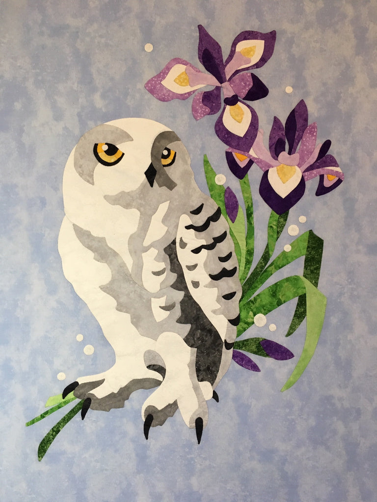 The Snowy Owl and Blue Flag Iris Digital Pattern