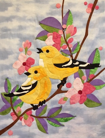 Yellow Finches Digital Pattern