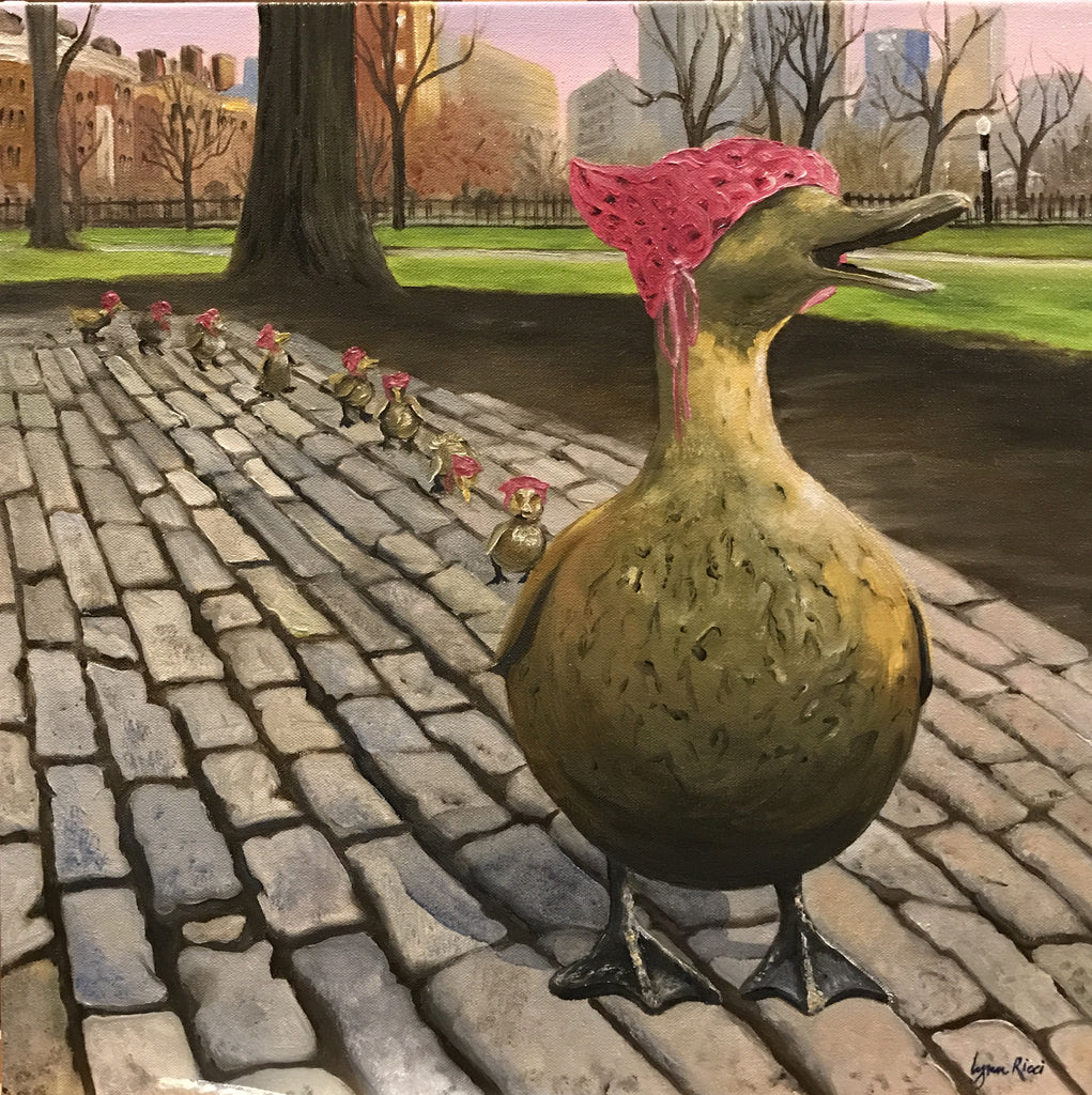 Boston Women's March pink hat on Make Way for Ducklings