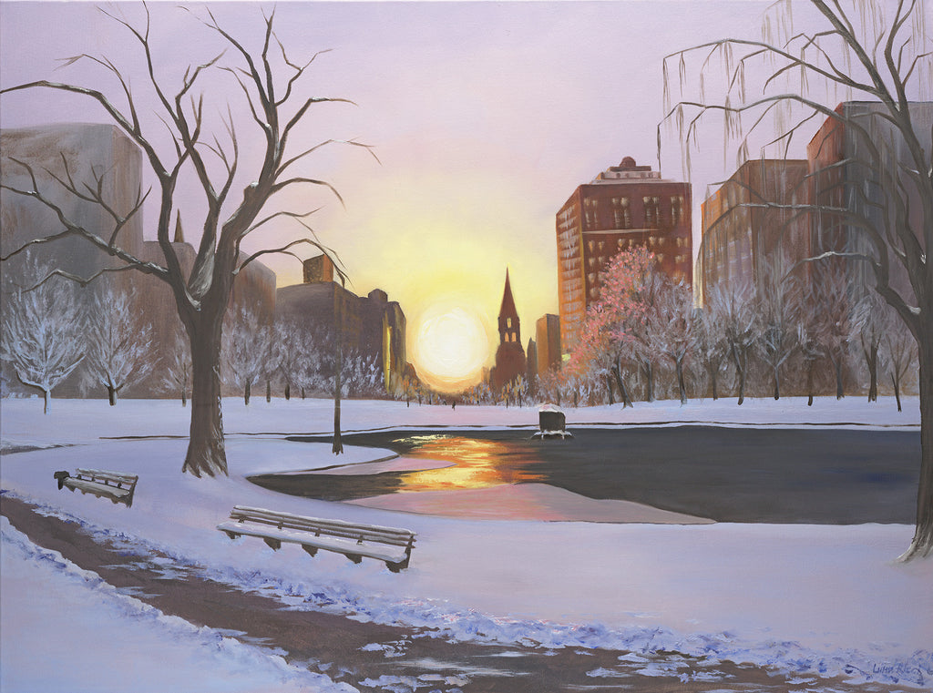 Giclee of Boston Public Garden After the Snow - Artwork of Lynn Ricci