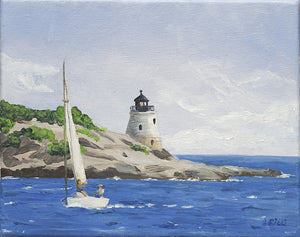 Giclee of Castle Hill Light, RI - Artwork of Lynn Ricci