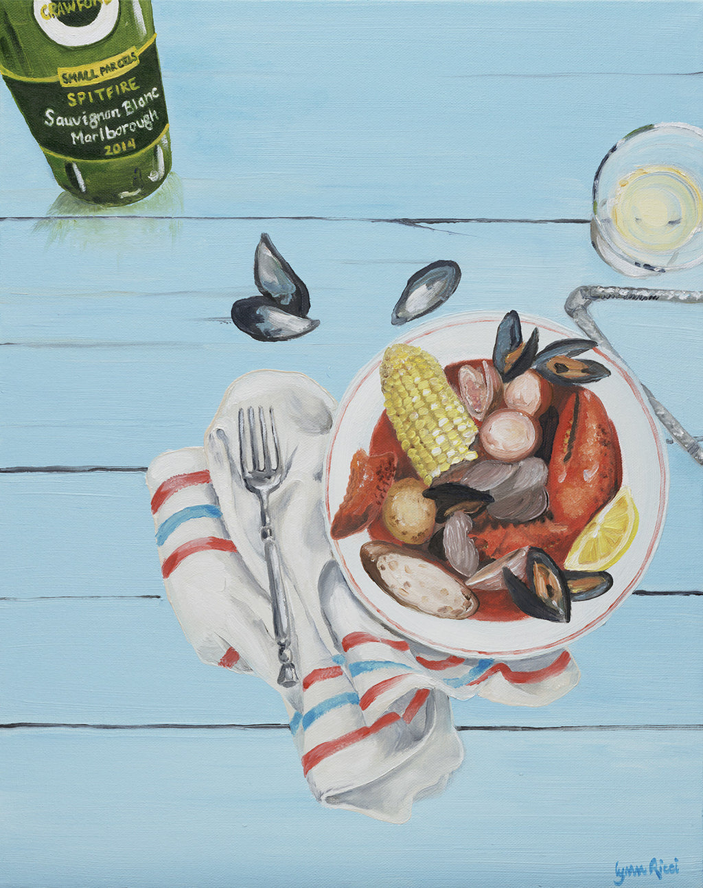 Giclee of Seafood and Wine - Artwork of Lynn Ricci