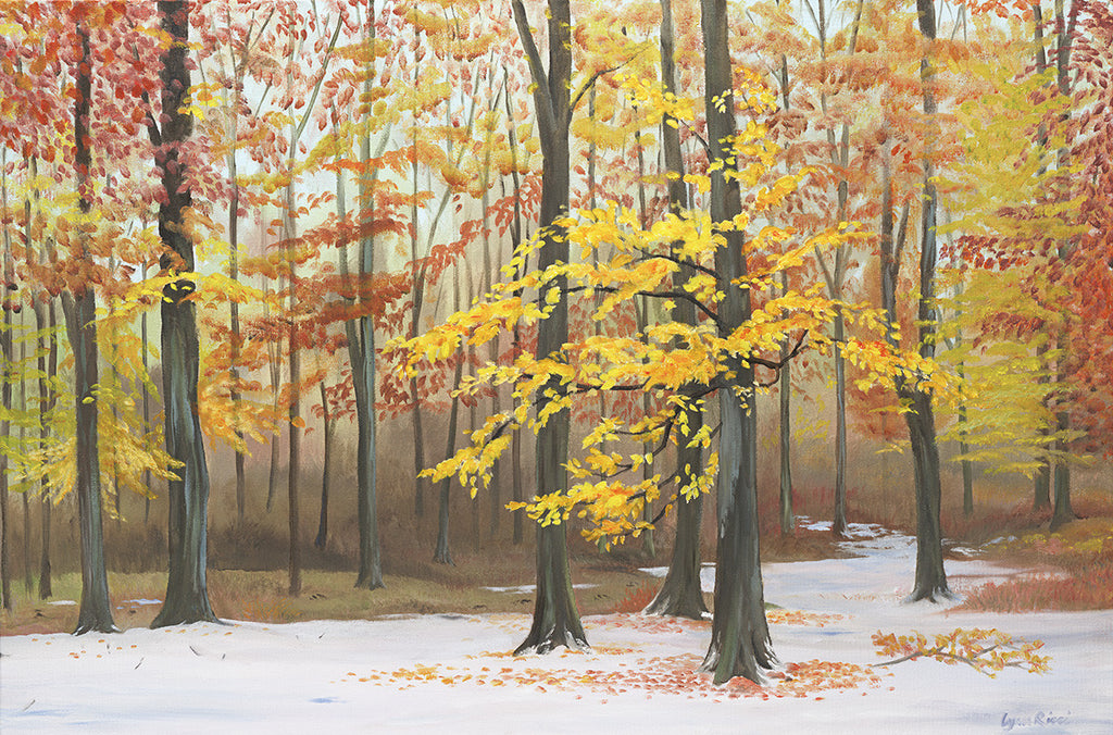 Early Snowfall over the Beech Trees - Artwork of Lynn Ricci
