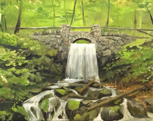 Bridge over Spot Pond Brook, Middlesex Fells - Artwork of Lynn Ricci
