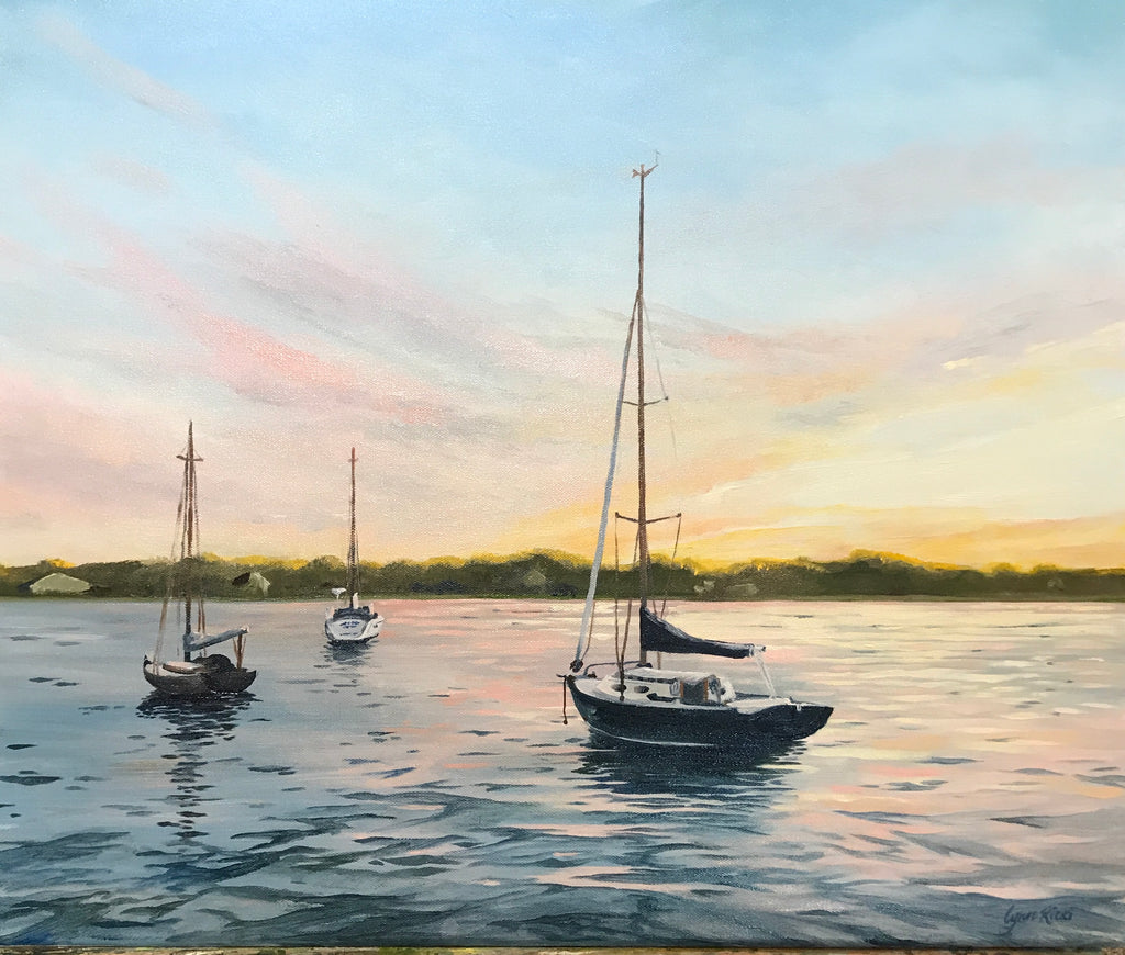Dusk on Padanaram Harbor - Artwork of Lynn Ricci