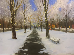The Lights Along Commonwealth Avenue - Artwork of Lynn Ricci