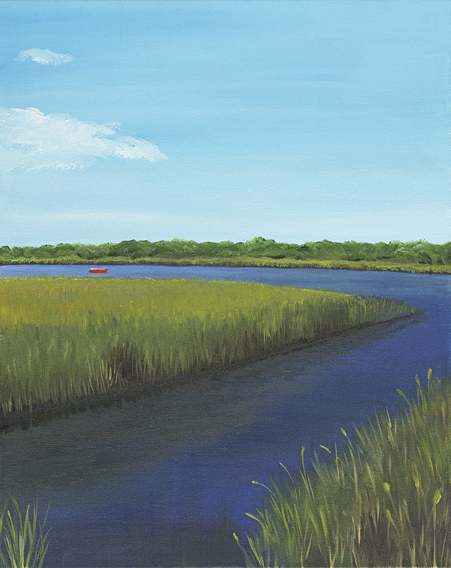 Red Boat on Marsh - Artwork of Lynn Ricci