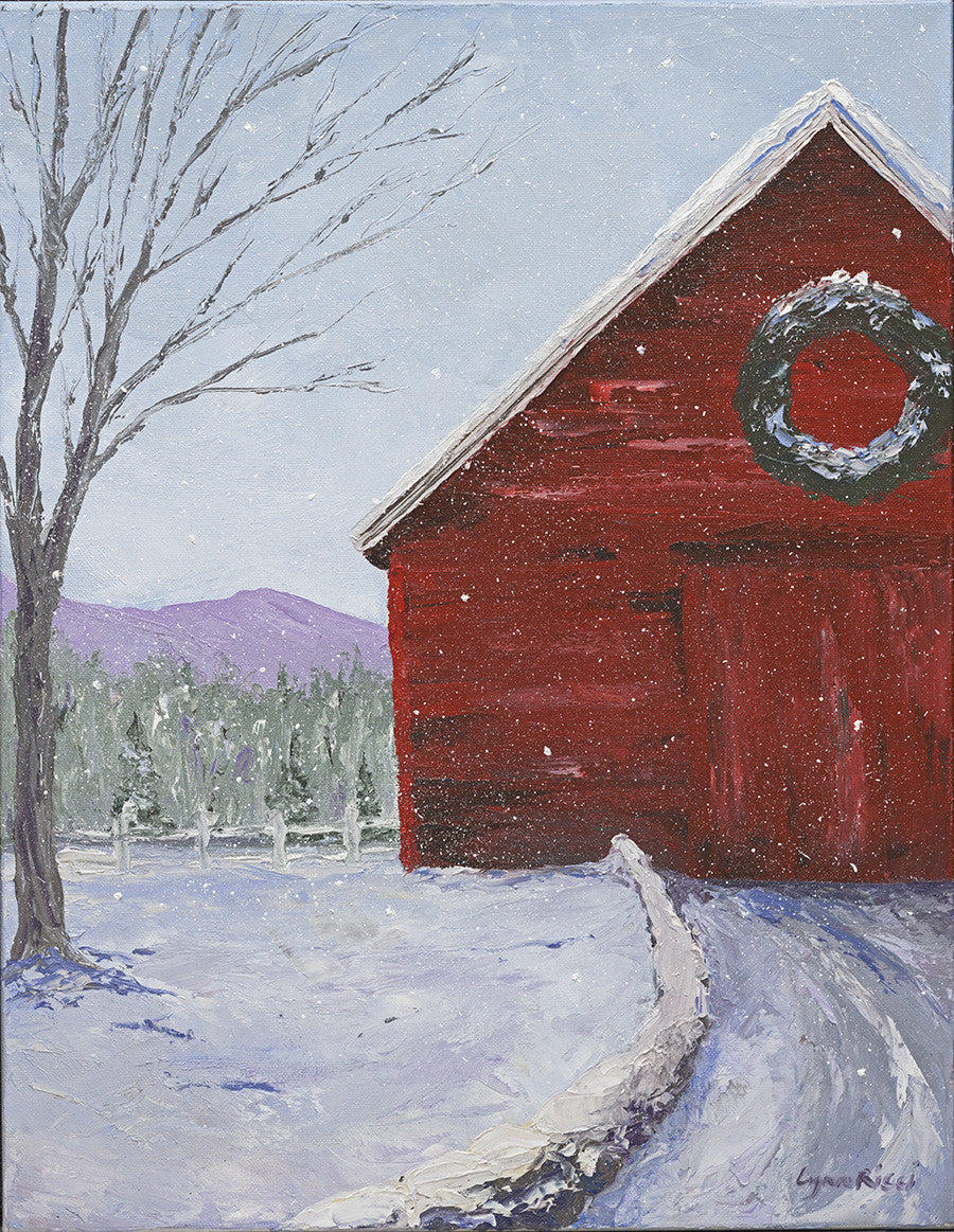Giclee of Red Barn at Christmastime - Artwork of Lynn Ricci