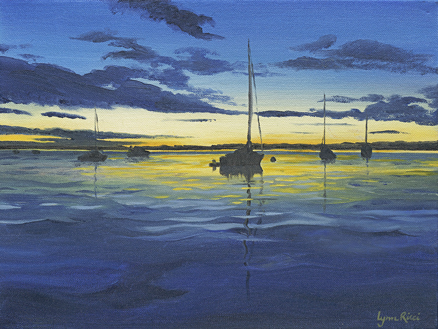 Giclee of Sailboats at Dusk - Artwork of Lynn Ricci