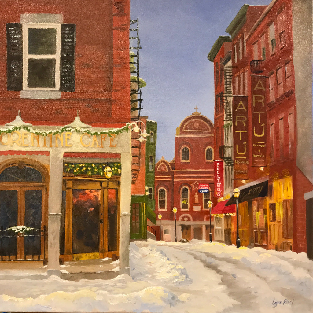 Snowfall on Sacred Heart - Artwork of Lynn Ricci