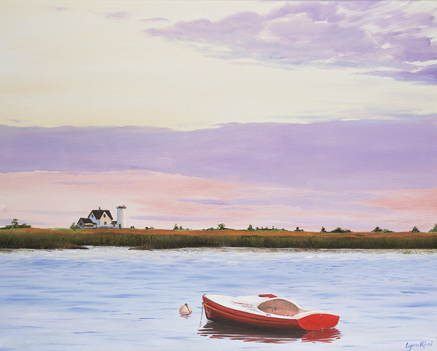 Stage Harbor Light - Sold - Artwork of Lynn Ricci