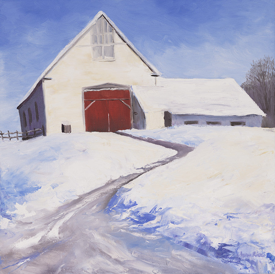 Giclee of White Barn in Dover - Artwork of Lynn Ricci