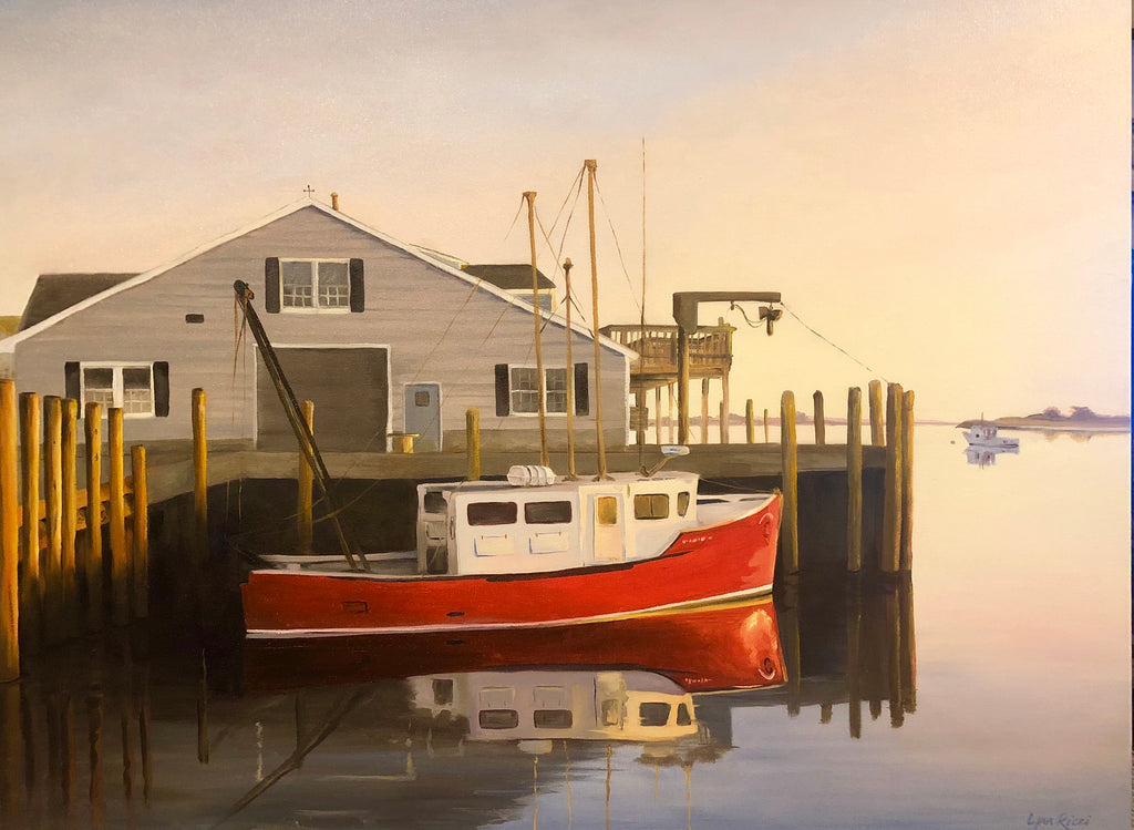 Chatham Red Boat at Dawn - Artwork of Lynn Ricci