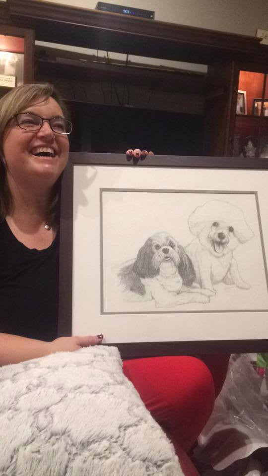 Two dogs - pencil drawing - Artwork of Lynn Ricci