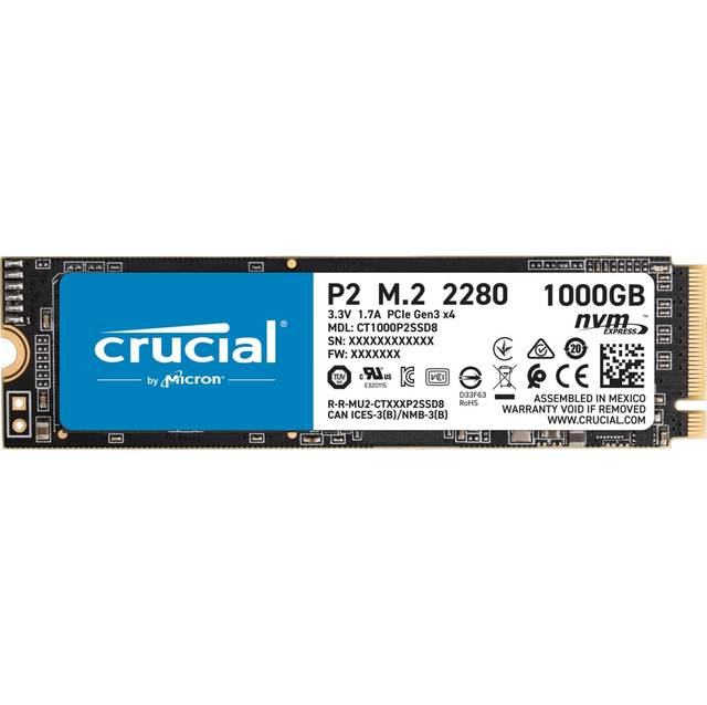 Crucial P2 1TB M.2 2280 PCI-Express 3.0 NVMe Solid State Drive