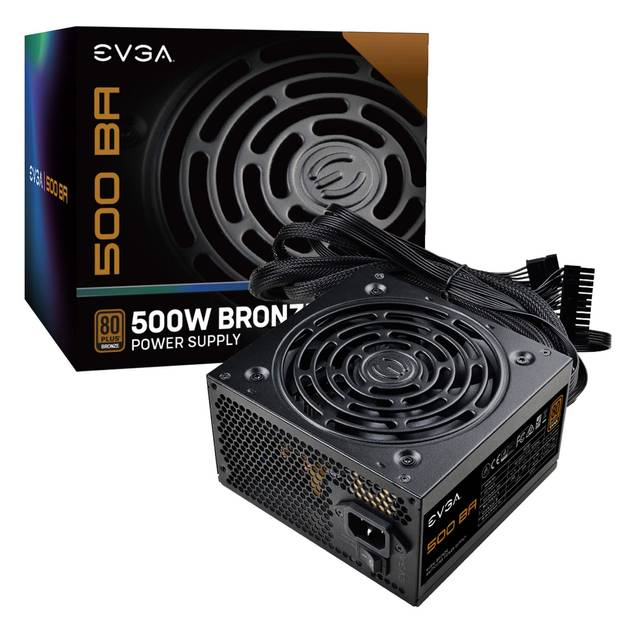 EVGA 100-BA-0500-K1 500 BA, 80+ BRONZE 500W, 3 Year Warranty, Power Supply