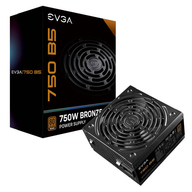 EVGA 220-B5-0750-V1 750 B5, 80 Plus BRONZE 750W, Fully Modular, EVGA ECO Mode, 5 Year Warranty, Compact 150mm Size, Power Supply