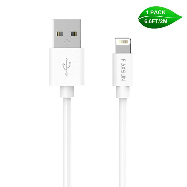 Foxsun AM001006 iPhone Charging Cable 6.6 FT-2M Lightning Cable for iPhone 7-7Plus-6-6Plus-6S-6S Plus-5-5S-5C-SE, iPad Pro-Air-Mini (White)