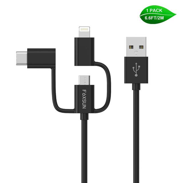 Foxsun AM001032 Multi USB Charging Cable, 6.6 FT-2M 3 in 1 Multiple USB Charger Cable with 8Pin Lightning -USB Type C-Micro USB Connector for iPhone,