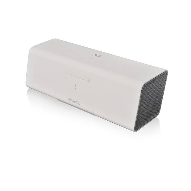 Microlab MD212 Wireless Bluetooth Portable Stereo Speaker w- Microphone & Rechargeable Battery & Retractable Tray (White)