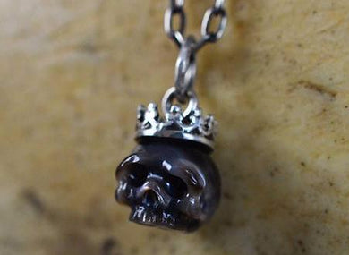 Hand Carved Black Pearl Skull Wearing Sterling Silver Crown Necklace