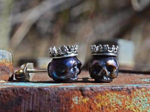 Hand Carved Black Pearl Skulls Wearing Sterling Silver Crowns Stud Earrings