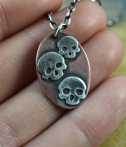 Sterling Silver Skull and Copper Pendant Necklace