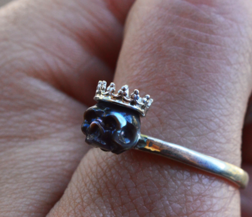 Hand Carved Black Pearl Skull Wearing Sterling Silver Crown Ring