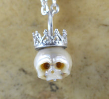 Hand Carved Ivory Pearl Skull Wearing Sterling Silver Crown Necklace